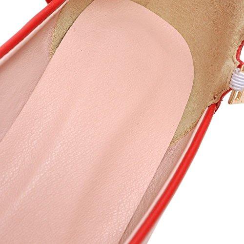 DecoStain Damen Durchgängies Plateau Sandalen mit Keilabsatz Rot