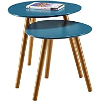 Simplistic End Table Set Of 2 Nordic Scandinavian Style Coffee Table Mid Century Contemporary Simple Modern Nesting Tables For Living Room Sturdy Classic Minimal Furniture Blue And eBook By NAKSHOP