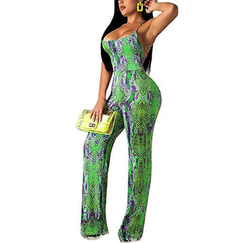 Womens Sexy Floral Jumpsuit Tie-Dyed Sleeveless Backless Wide Leg Jumpsuit Clubwear ()