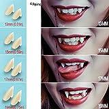 UVEEFUN Vampire Teeth Fangs Dentures - 4 Pair - Cosplay Props Halloween Costume Props Party Favors (13mm 15mm 17mm 19mm)