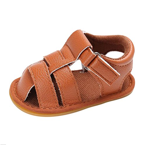 hibote Bebé Recién Nacido Prewalker Soft Leather Anti-slip Toe Sandal Zapatos Black 12-18M marrón