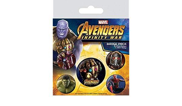 1art1 Los Vengadores - Infinity War, 1 X 38mm & 4 X 25mm ...