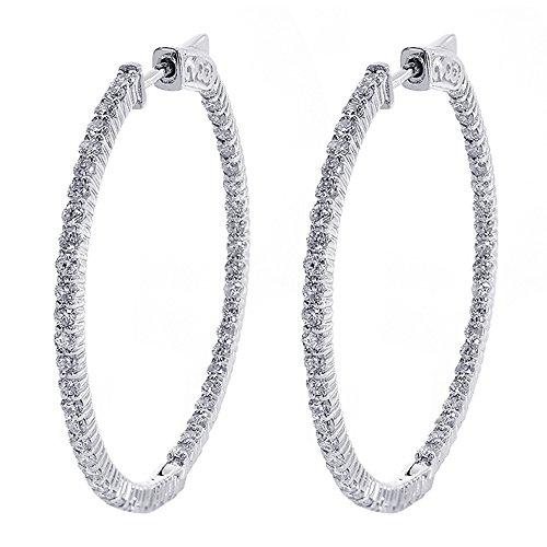2.20 Carat Eternity Inside Out Diamond Hoop Earrings 14K White Gold Inside Out Diamond Hoop