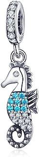Anhänger Seepferdchen Ozean 925 Sterlingsilber Seepferdchen Meer glitzernd Zirkonia für Armbänder Anhänger Halskette Schmuck