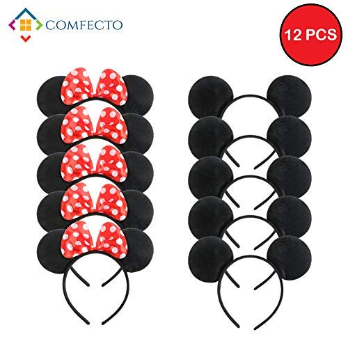 Comfecto 12 Pcs Mickey Minnie Headband Mouse Ears for Boy Girl Birthday Party Celebration, Black Red Bow (Birthday Mouse Items Party Mickey)