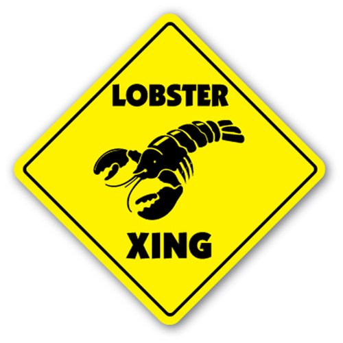 [SignJoker] LOBSTER CROSSING Sign xing decor seafood restaurant Wall Plaque Decoration