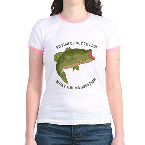 Ringer T-shirt Kids Fish (CafePress - to Fish Or Not to Fish - Jr. Ringer T-Shirt, Slim Fit 100% Cotton Ringed Shirt Pink/Salmon)