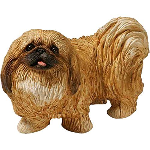 Sandicast Mid Size Pekingese Sculpture, Standing, Red