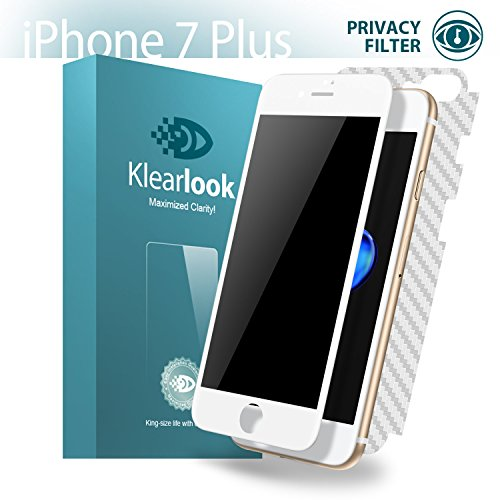 Klearlook [Privacy Series] Anti-Spy Filter Featured Front 9H Tempered Glass Screen Protector and Back Carbon Fiber Flim for Apple iPhone 7 Plus, White Frame (1+1 Pack)
