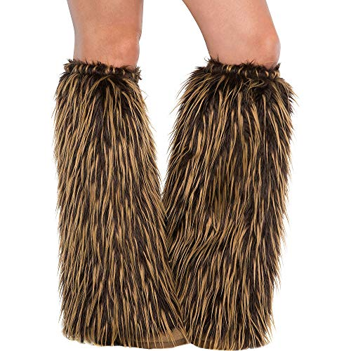 AMSCAN Medieval Furry Leg Warmers Halloween Costume Accessories for Adults, -