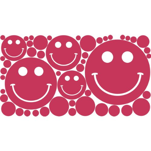 (Decor by HDC Polka Dots & Smiley Face Removable Wall Stickers, Raspberry Creme)