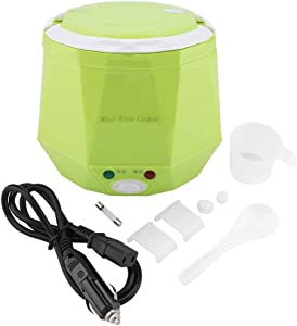 FAMKIT 12V 100W 1.3 L Electric Portable Multifunctional Rice Cooker Food Steamer for Cars (Green)