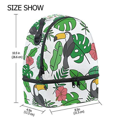 correa con hombro térmica de para de Alinlo tucán diseño Bolsa para el ajustable hojas pájaros y el almuerzo vBBxFOwqT