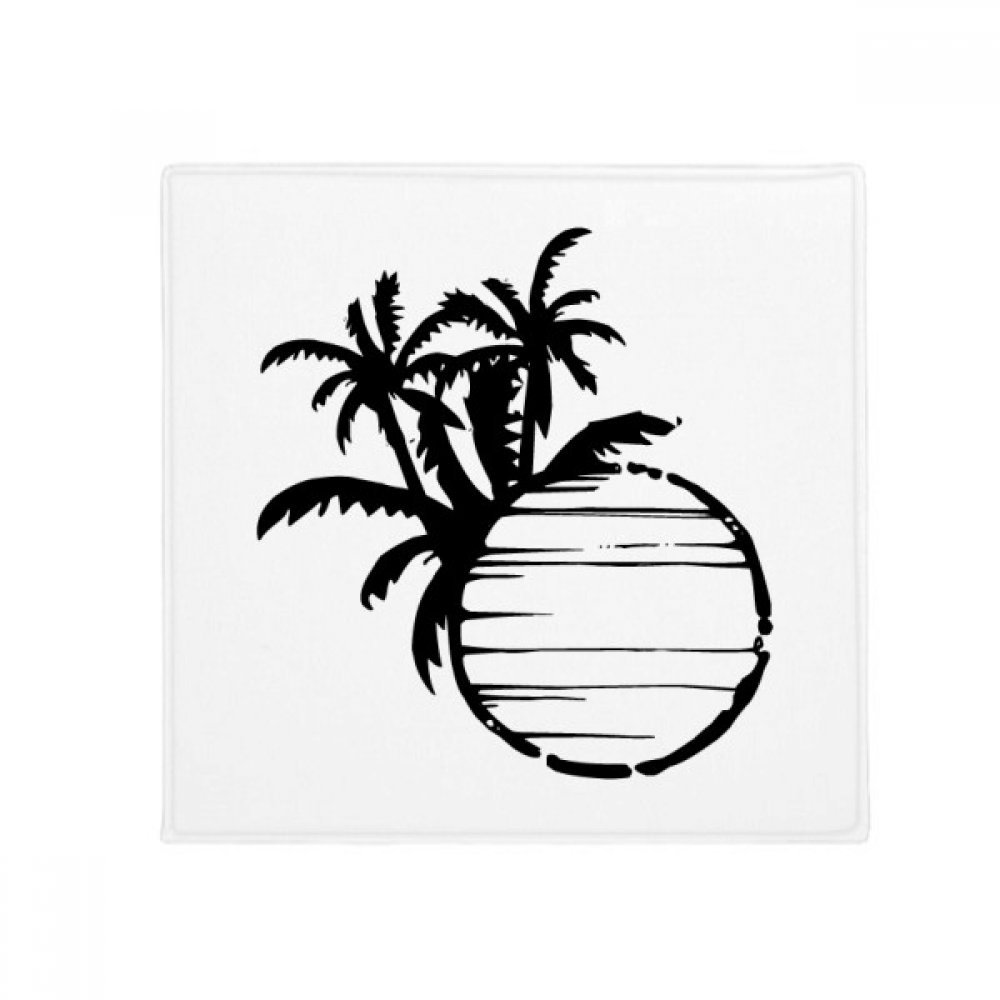 DIYthinker Black Beach Coconut Tree Silhouette Anti-Slip Floor Pet Mat Square Home Kitchen Door 80Cm Gift