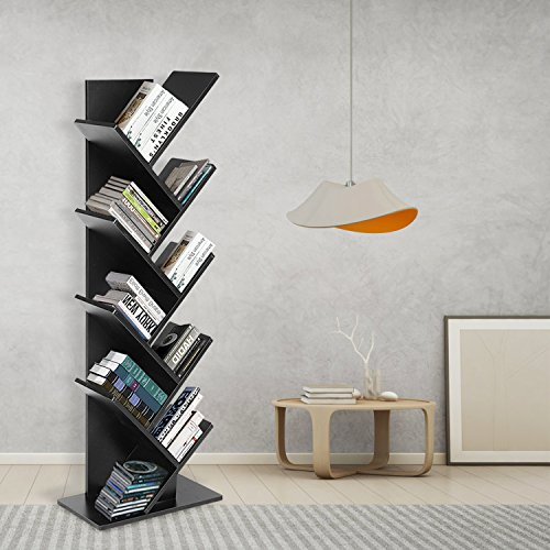 9 Shelf Tree Shaped Book Case Book Shelf Book Rack Display Storage Organizer Freestanding Bookshelves For CDs Movies & Books by JOO LIFE