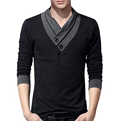 284e0cb3c Men's T-Shirt Long Sleeve Men Top Cotton Tops Sports Fitted Sweatshirt  Fashion Pullover Casual