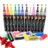Kids B Crafty Acrylic Paint Pens - Markers for Rock Painting, Mug Design, Ceramic, Glass, Metal, Wood, Fabric, Canvas, Christmas, School Supplies Craft Kids, Set of 12 Colours