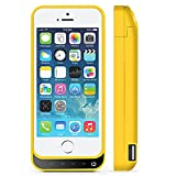 iPhone 5 Battery Case, SQDeal Portable 4200mah External Battery Charger Case Protective Cover Juice Power Bank for iPhone 5/5S/5C SE (Yellow)