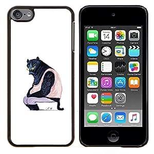 Planetar® ( Puma Arte Negro Grande Wild Cat Glasses Caricatura ) Apple iPod Touch 6 6th Touch6 Fundas Cover Cubre Hard Case Cover