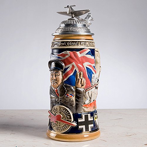 Churchill Limited Edition German 3d Hand Painted Beer Stein with Pewter Lid By King Werk