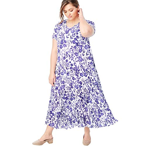 Floral Dress Lilac - Woman Within Plus Size Crinkle Dress - French Lilac Water Floral, M