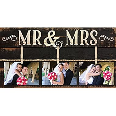 Mr & Mrs Rustic 3 Photo 11 x 20 Wall Sign Picture Frame Collage with Clothespins