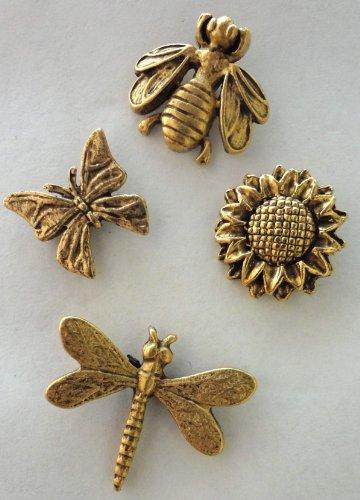 Set of 15 Antique gold Springtime Push Pins - T-800AG