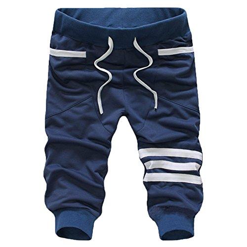 L'ASHER Men Short Elastic Waist Harem Shorts Jogger Sports Casual Capri Pants Running Shorts Capri Drawstring Pants Dark Blue ()