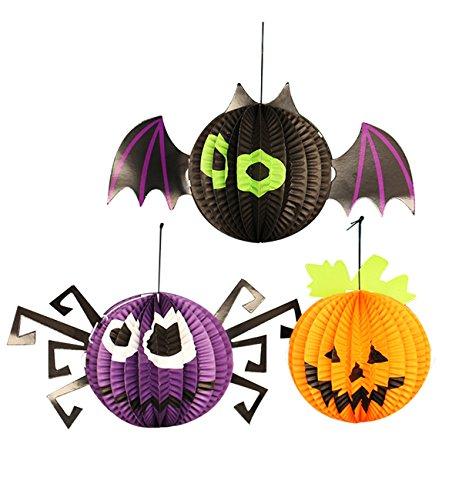 Lecoon-3-Piece-Halloween-Party-Paper-Lantern-Decorations-Pendant-Hanging-Decorations-Spider-Bat-Pumpkin