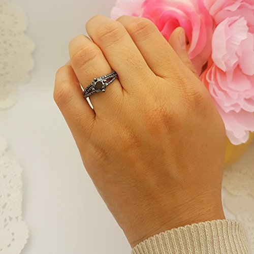 1.35 Carat (Ctw) Black Rhodium Plated Silver Black Diamond Ladies Bridal Engagement Ring Set (Size 6.5) by DazzlingRock Collection (Image #4)