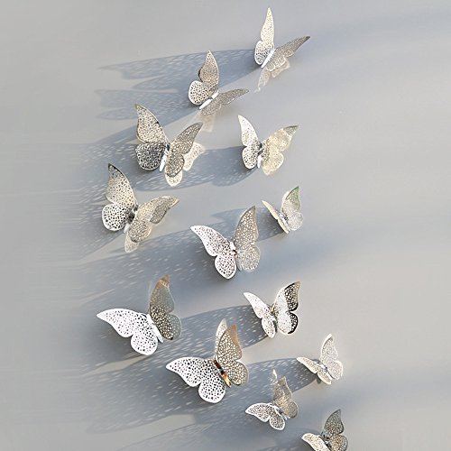 (Youmymine 3D ATR Wall 12 Pcs Hollow Wall Stickers Butterfly Fridge for Removable Home Living Room Bedroom Wall Sticker Sofa Background Decorations (Silver F))