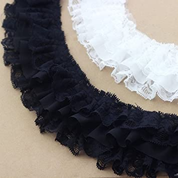 Black Yalulu 2 Yards 3D DIY Chiffon Ruffle Lace Pleated Chiffon Trim Dress Decoration Tulle Fabric Applique Trimming Craft Sewing