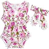 #8: Belovecol Baby Girls Romper Sleeveless Bodysuit Floral Jumpsuit with Tassel Headband 0-18 M