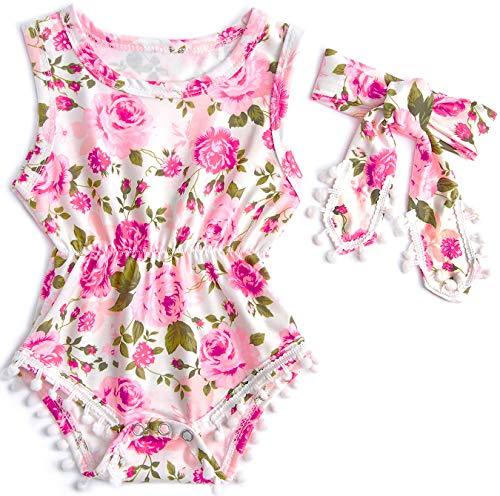 Belovecol Baby Girls Romper Sleeveless Bodysuit Floral Jumpsuit with Tassel Headband 0-18 M