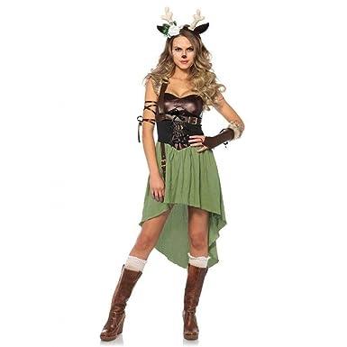 Amazon.com: Women's Dark Forest Fawn Deer Bambi Dress Outfit Adult ...