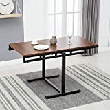 Artist Hand 2 in 1 Bookcase Dining Table Multipurpose 5-Tier Bookcase Bookshelf Transform Dining Table for Living Room Bedroom Kitchen (Walnut)