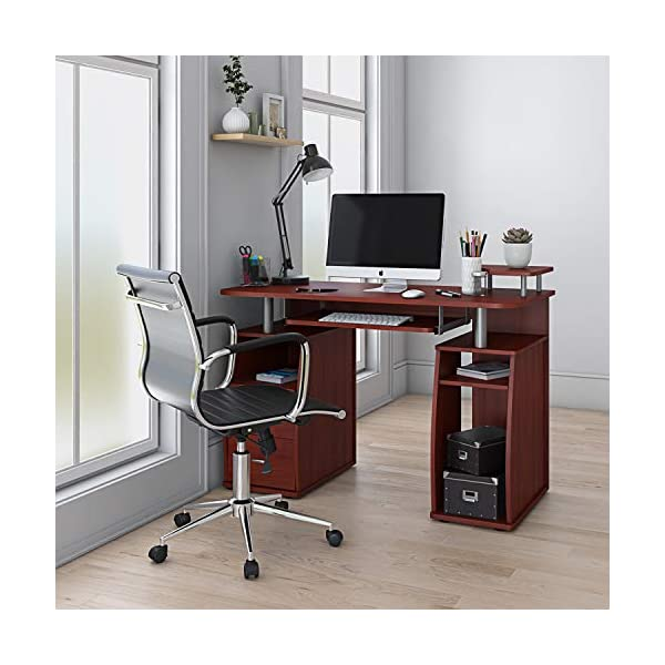 Computer workstation for small spaces mahogany