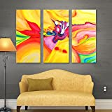 ArtWall Susi Franco 'Secret Life of Lily' 3-Piece Gallery Wrapped Canvas Artwork, 36 by 54-Inch
