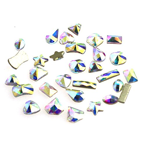 ACE STRASS Premium Crystal Fancy Nailart Rhinestone (Crystal AB, Set A-10 Shapes 3pcs = 30pcs)
