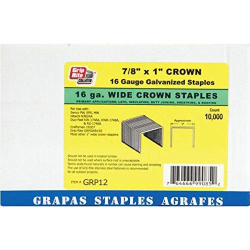 Grip Rite GRTS1200 2'' Leg 16 Gauge Wide Crown Stapler, 1''