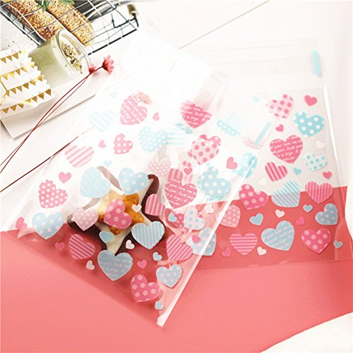 - HugeDE 200 Pcs Cute Love Heart Cello Cellophane Bags OPP Plastic Bags for Bakery Cookies 10x10cm