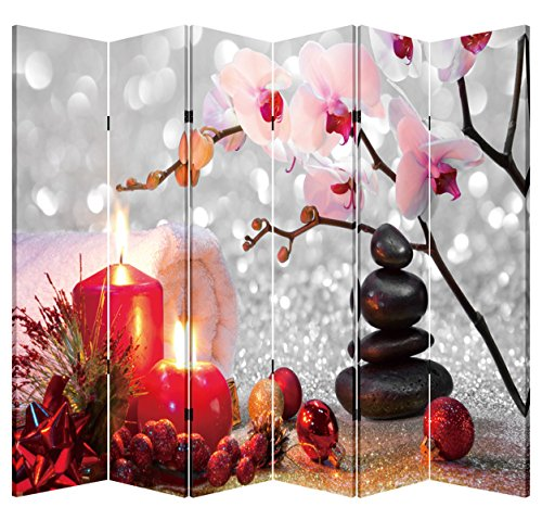 6 Panel Wooden Folding Screen Canvas Privacy Partition Divider- Winter Spa