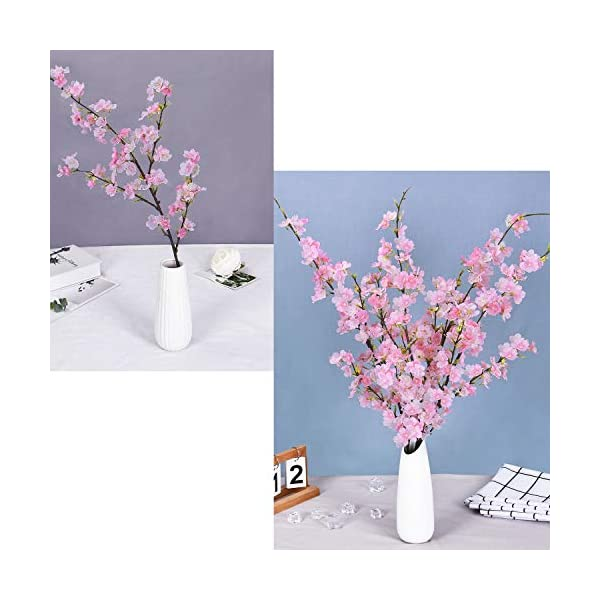 Shiny Flower 4PCS Artificial Cherry Blossom Flowers, Silk Peach Flowers Arrangements Tall Artificial Plant 42.9″ in Tall for Wedding Office Party Hotel Yard Home Decoration