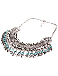 Bohemian Vintage Lady Coin Tassel Fringe Statement Necklace Antique Silver