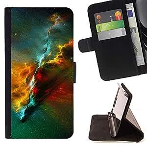 For Samsung Galaxy S5 V SM-G900 Case , Nebulosa del Universo Ciencia Espacial- la tarjeta de Crédito Slots PU Funda de cuero Monedero caso cubierta de piel