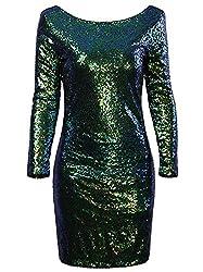 Women's Sequin Long Sleeve Flapper Dress