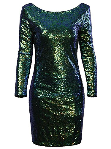 Vijiv Women's Sparkle Glitzy Glam Sequin Long Sleeve Flapper Party Club Dress