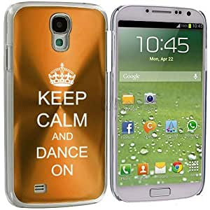 Samsung Galaxy S4 S IV Aluminum Plated Hard Back Case Cover Keep Calm and Dance On Crown (Yellow Gold)