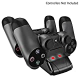 YOUSHARES Dual PS4 Controller Charger with Dual USB Charge Docking Station / Storage Vertical Stand for DualShock 4 Gamepad of SONY Playstation 4 Pro 4 Slim 4