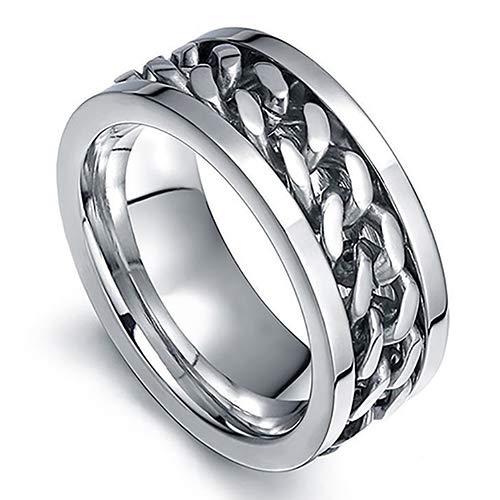 bromrefulgenc Punk Men Women Unisex Stainless Steel Chain Inlaid Finger Ring Band Jewelry Gift White 10